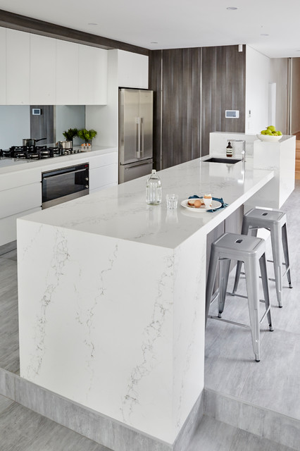 Statuario Quartz Quantum Quartz Contemporary Kitchen