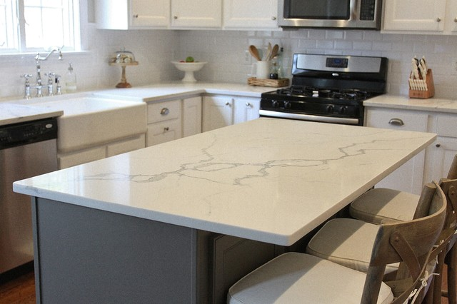 Statuario venato engineered quartz kitchen transitional for Engineered quartz countertops