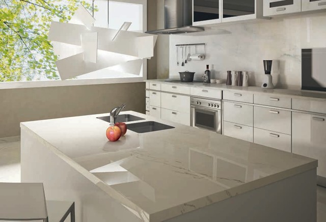 Statuario venato porcelain slab kitchen for Kitchen ideas with porcelain countertops