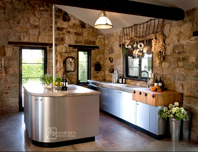 Steel Cabinets In Old Cottage Rustic Kitchen Other