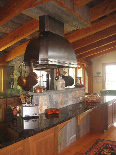 steel hood eclectic kitchen