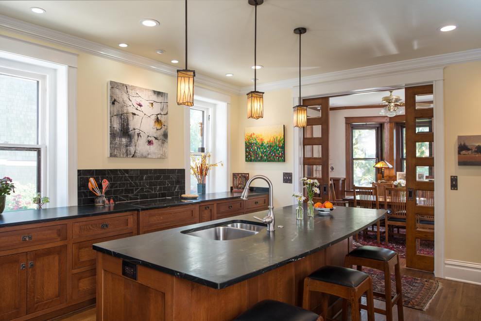 Arts and crafts kitchen photo in Kansas City