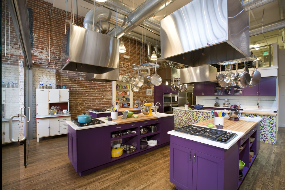Inspiration for an industrial kitchen remodel in Denver with open cabinets