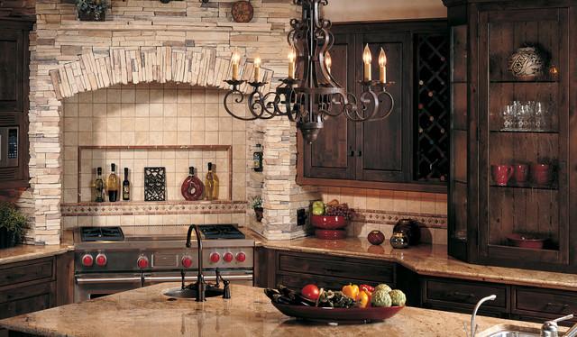 Stone accents wall kitchen for Eldorado stone outdoor kitchen cabinet