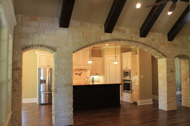 Stone Archway Into Kitchen Traditional Kitchen