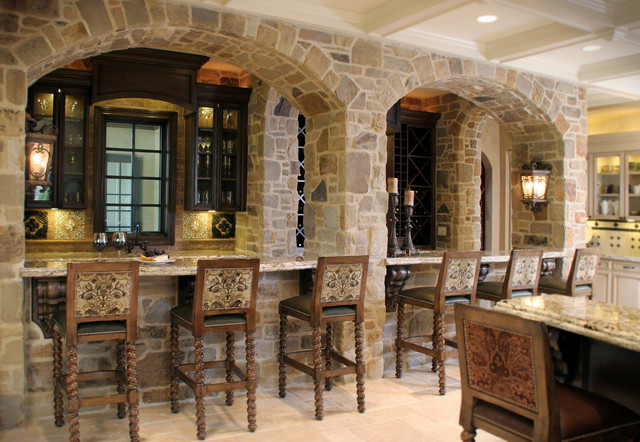 stone bar with arched facade mediterranean kitchen cleveland by house of l interior design. Black Bedroom Furniture Sets. Home Design Ideas