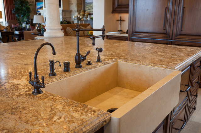 Kitchen Island With Farmhouse Sink Stone Farmhouse Island Sink  Mediterranean  Kitchen  Orange