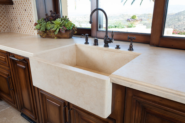 Stone Farmhouse Kitchen Sink - Mediterranean - Kitchen ...