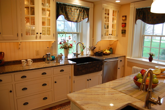 Stone farmhouse sink traditional-kitchen