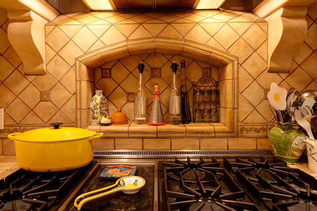 Stone Kitchen Backsplash Mediterranean Kitchen Santa