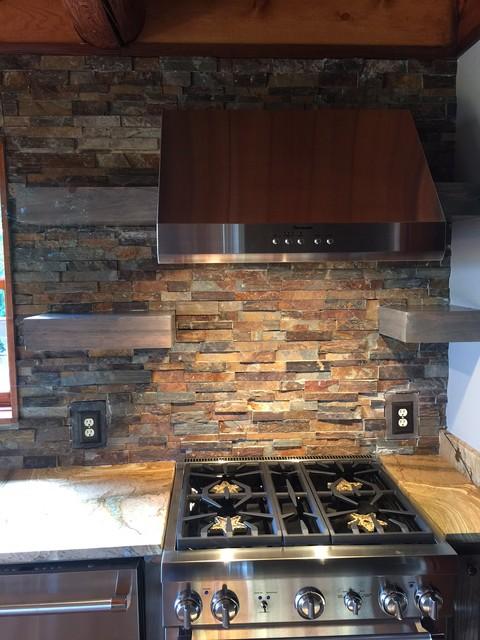 Stone kitchen backsplash for Rustic stone tile backsplash
