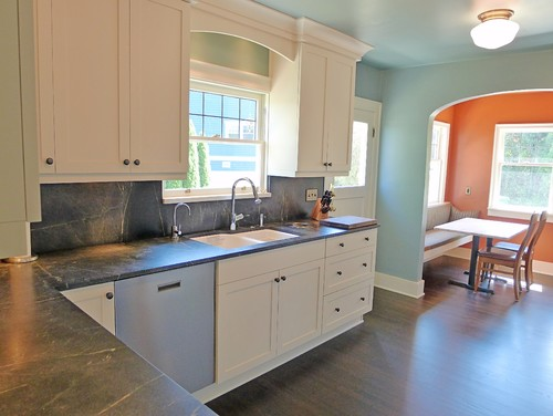 Soapstone Kitchen countertops with Full height soapstone backsplash ...