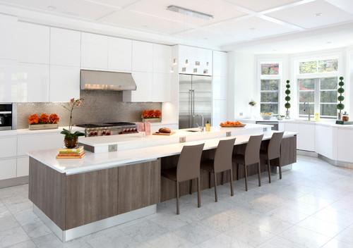 Modern kitchen with lowered bar
