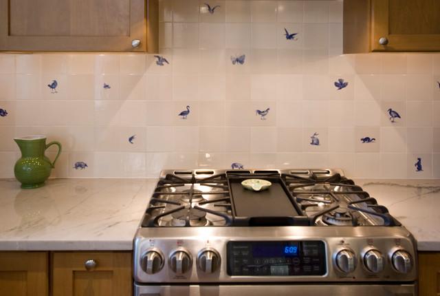 stove and hand painted backsplash tile farmhouse