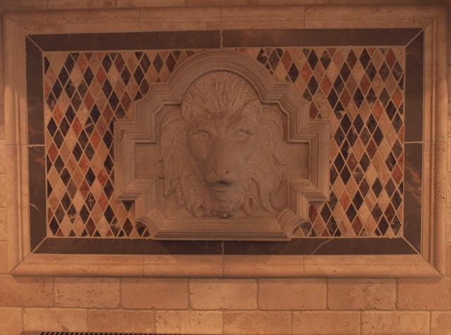 Lion Sculpture backsplash transitional-kitchen