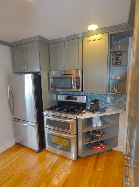 Stove Wall Elevation After - Transitional - Kitchen - Denver - by Three Week Kitchens