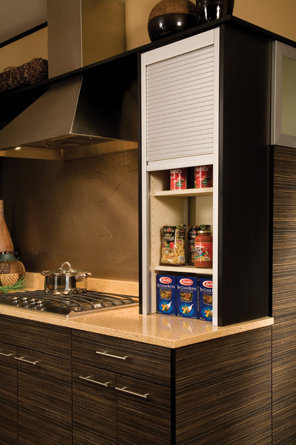 Straight Appliance Garage Metal Tambour Modern Kitchen