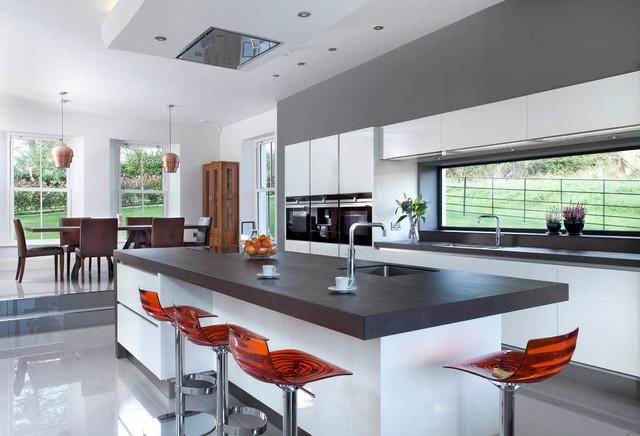 Stratos White Contemporary Kitchen Belfast By Canavan Interiors