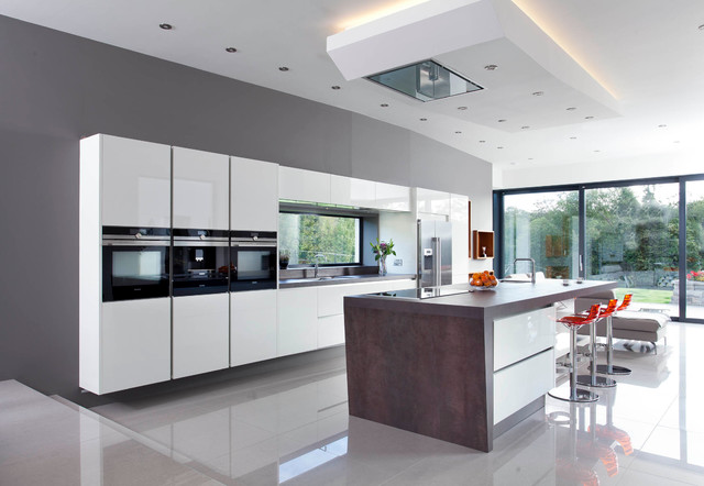 Stratos White Contemporary Kitchen Belfast By Canavan Interiors