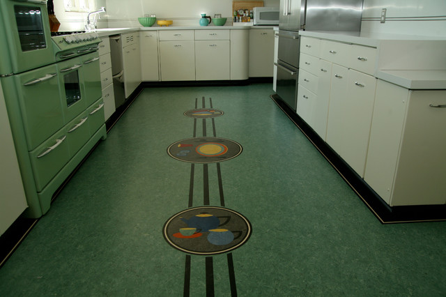 Metal Floor Inlays : Streamline modern metal cabinets kitchen