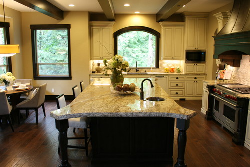 trim wood and stain? we are putting in white kitchen cabinets and