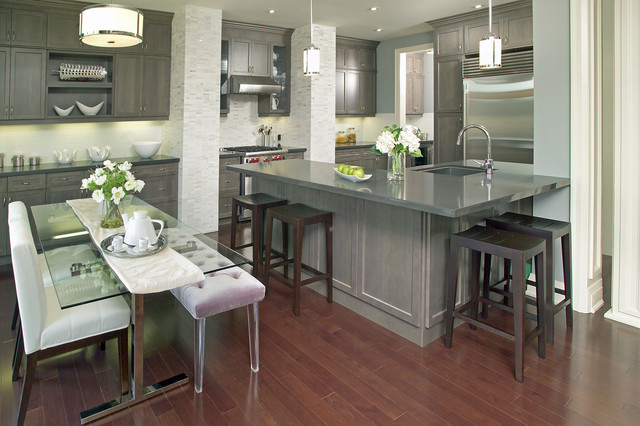 gray stained kitchen cabinets. Streetsville Glen Models contemporary kitchen  Contemporary Kitchen Toronto by