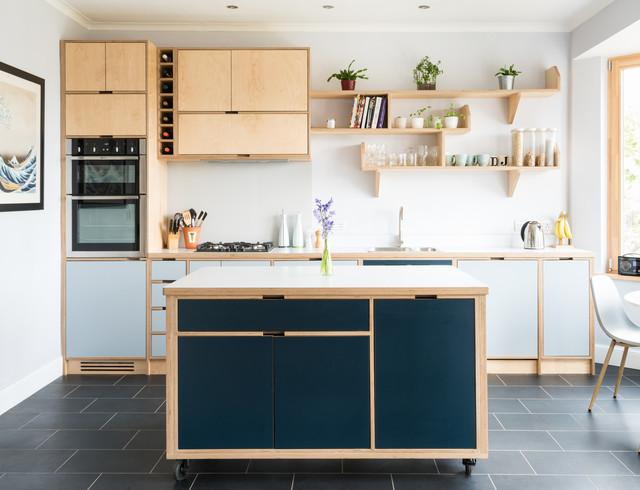 Striking and simple birch plywood kitchen in Edinburgh ...