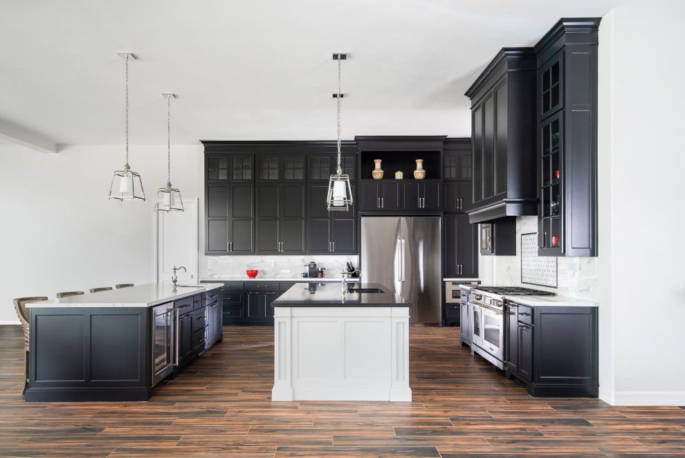 Mid-sized transitional porcelain tile and brown floor kitchen photo in Houston with glass-front cabinets, white backsplash and marble backsplash