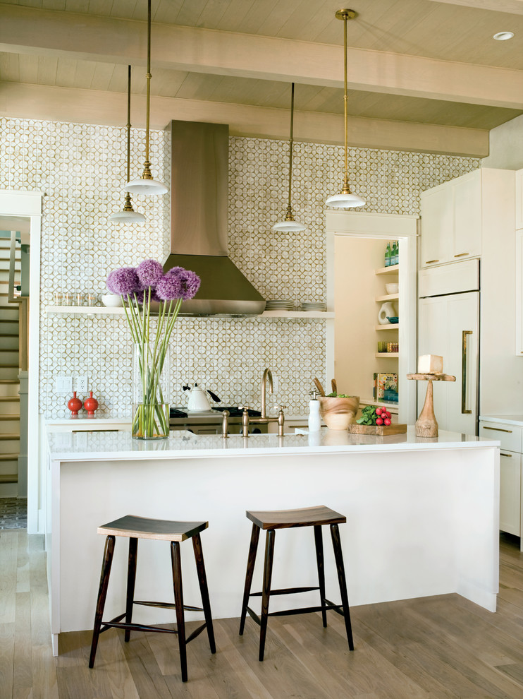 Kitchen - tropical kitchen idea in Charleston with paneled appliances, flat-panel cabinets, white cabinets and multicolored backsplash