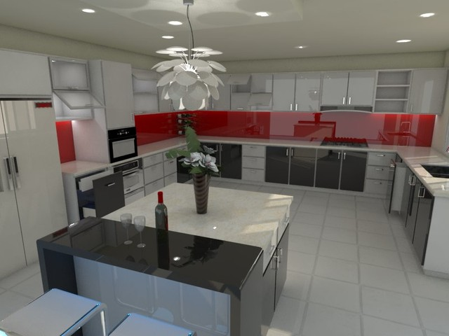 studio apartment contemporary-kitchen