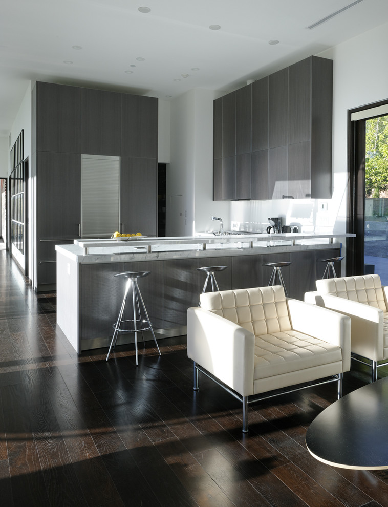 Open concept kitchen - modern open concept kitchen idea in Denver with gray cabinets