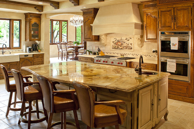Stunning Kitchen Granite Counter Island Traditional