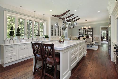 White Kitchen Countertops With Dark Wood Floors