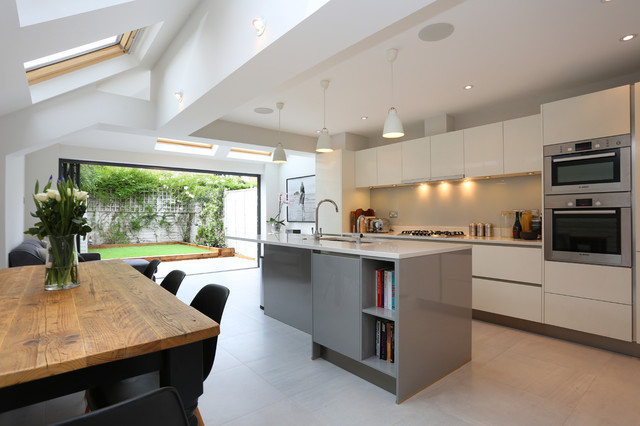 Stylist Contemporary Kitchen Extension In Terraced