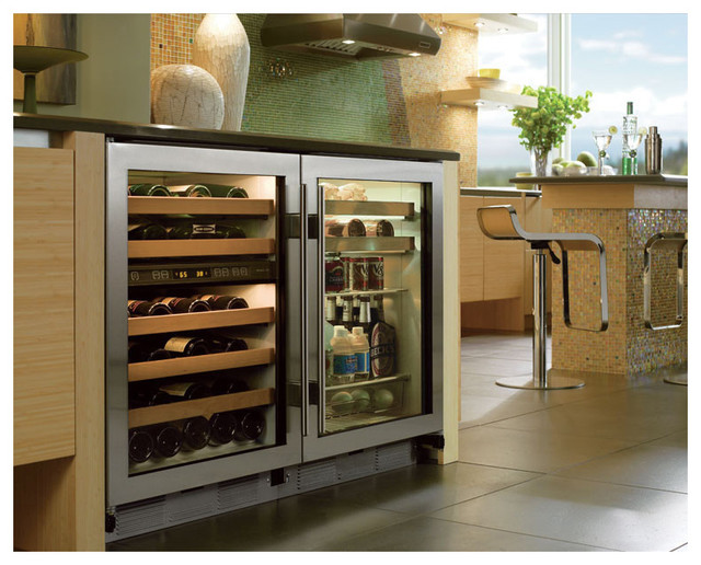 Sub Zero 24 Built In Undercounter Beverage Center Stainless Steel Uc24bgsth Contemporary Kitchen Los Angeles By Universal Liance And