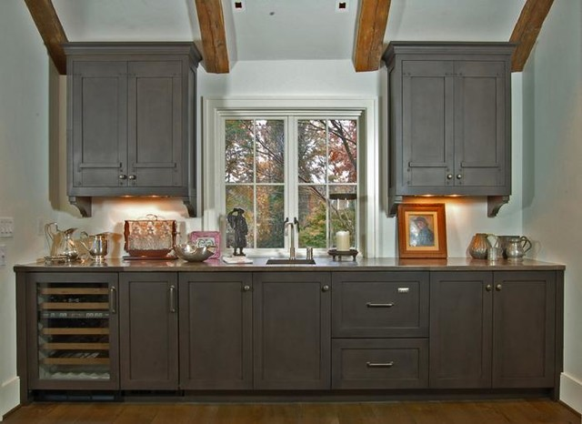 Subtly-painted transitional kitchen and butler pantry contemporary-kitchen