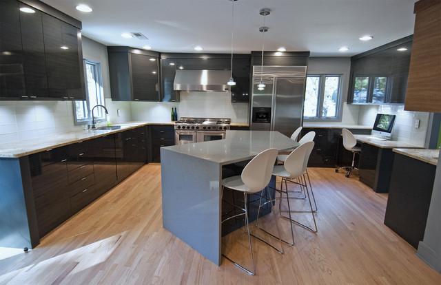 Suburban zen kitchen and stairway remodel for Modern zen kitchen