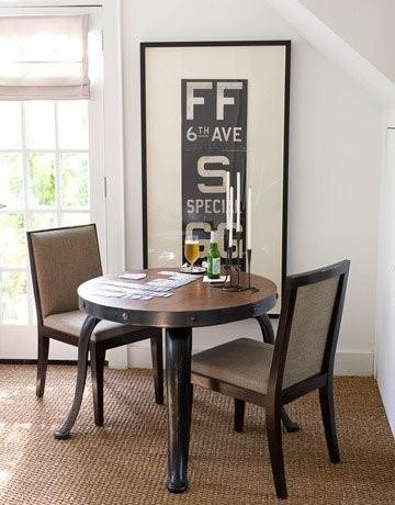 Subway sign in breakfast nook contemporary kitchen