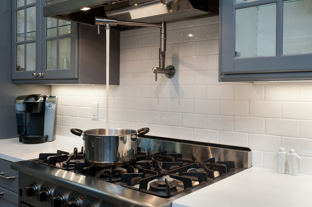 Subway Tile Backsplash With A Pot Filler For The Stove Contemporary Kitchen