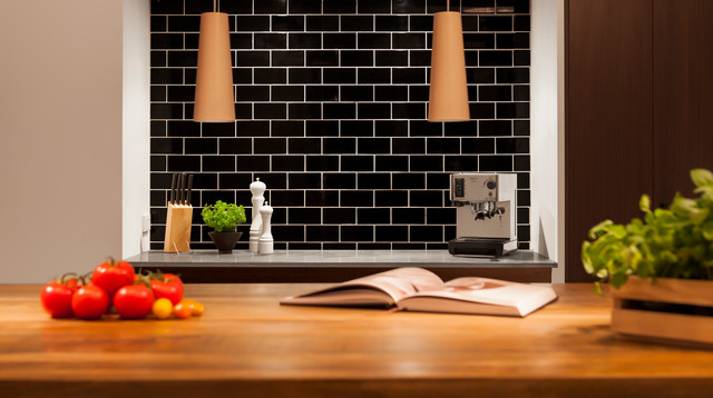 Subway Tiles Black Contemporary Kitchen Melbourne