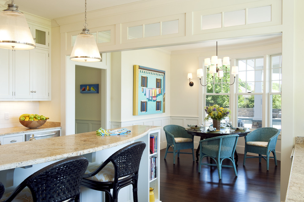 Inspiration for a transitional eat-in kitchen remodel in Boston with granite countertops
