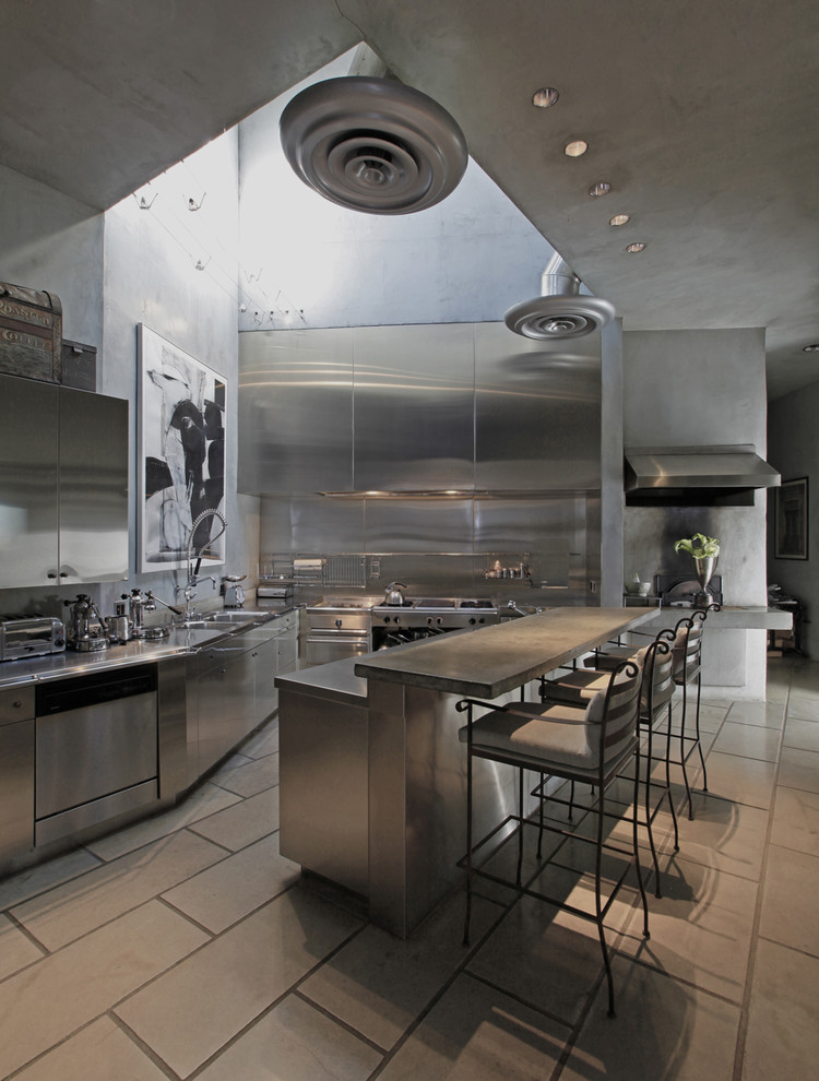 Urban kitchen photo in Los Angeles with stainless steel appliances, stainless steel cabinets, stainless steel countertops, flat-panel cabinets, metallic backsplash and metal backsplash