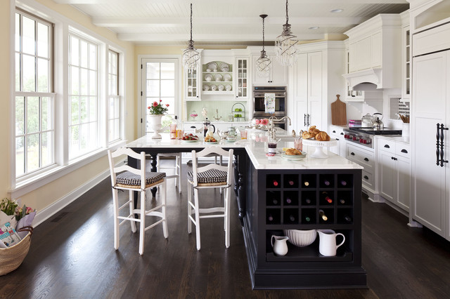 inspiration for a mid sized timeless dark wood floor kitchen remodel in minneapolis with shaker - L Shaped Kitchen Island