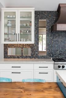 Hervorragend Küchen mit Küchenrückwand in Blau und Laminat Ideen, Design ZJ79