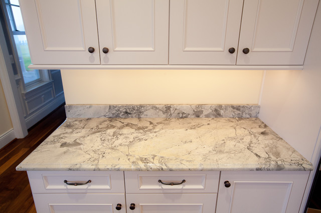 Super White Quartzite Countertops Traditional Kitchen