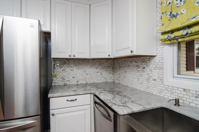 quartzite super white countertop stone kitchen countertops gold tile traditional
