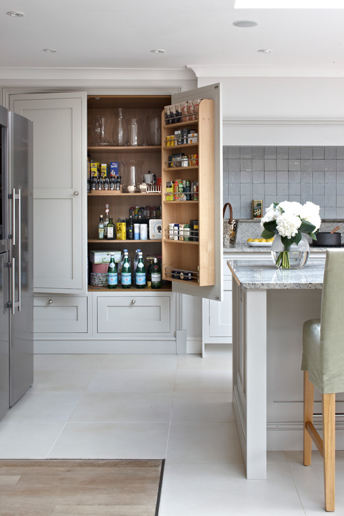 Kitchen Pantry with Contrast Interior Finish