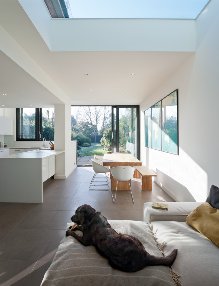 Inspiration for a mid-sized contemporary u-shaped eat-in kitchen remodel in London with an undermount sink, flat-panel cabinets, white cabinets and a peninsula
