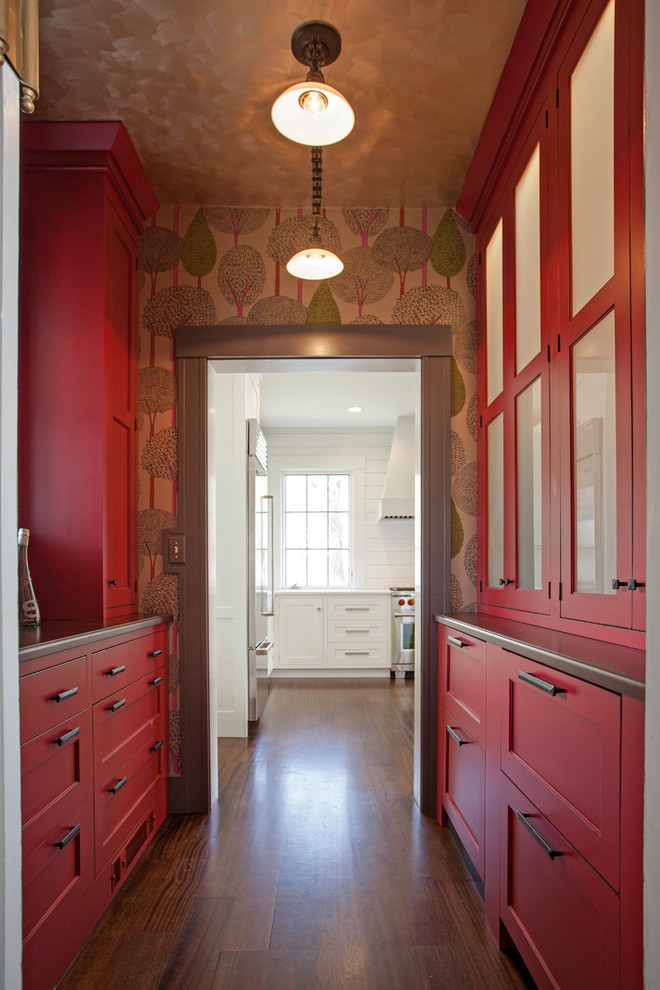 Transitional dark wood floor kitchen pantry photo in Boston with red cabinets