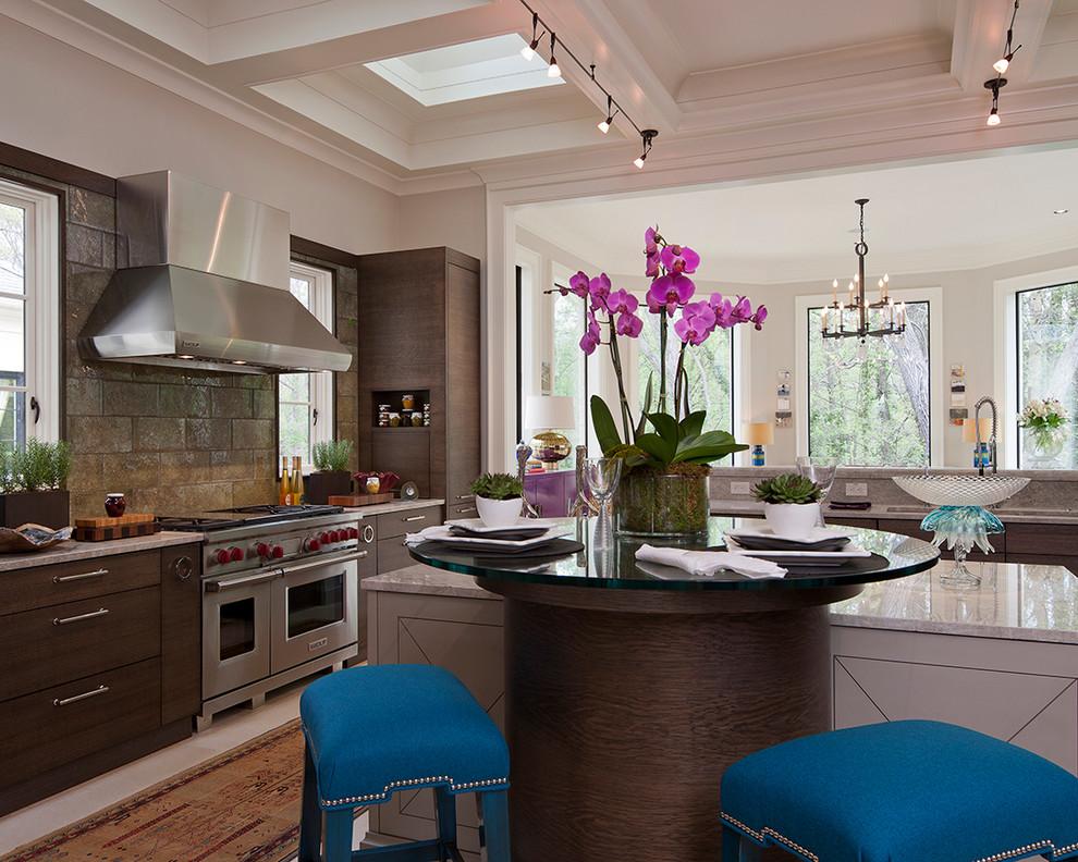 Elegant kitchen photo in Atlanta with dark wood cabinets